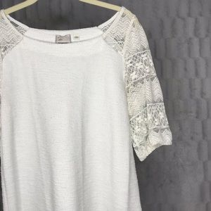Anthropologie Postmark White Lace Short Sleeve Top